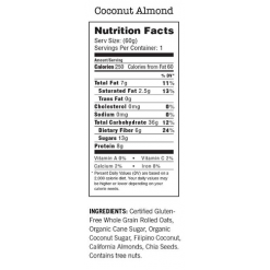 Modern Oats Coconut Almond, pack of 12 nutrition