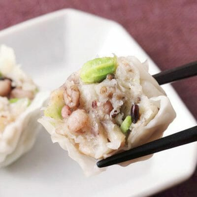 Shumai dumpling with Edamame (green soybeans) and mixed grains online