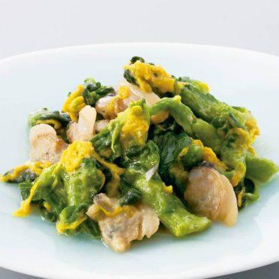 Rape blossom and clams with karashi mustard sauce-A