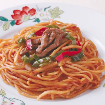 Oyster sauce yakisoba with beef and bell peppers-A