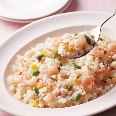 Colorful vegetable and shrimp pilaf-A
