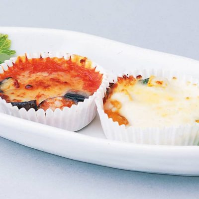 Bento box-sized mini gratins (eggplant with meat & kabocha pumpkin with cream)-A