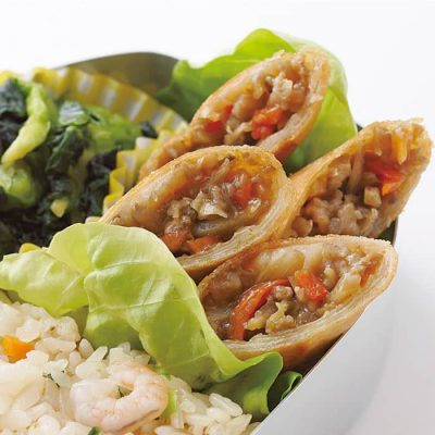 Chicken and burdock root mini spring rolls-A