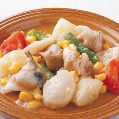 Sautéed Hokkaido shellfish and vegetables in butter-A