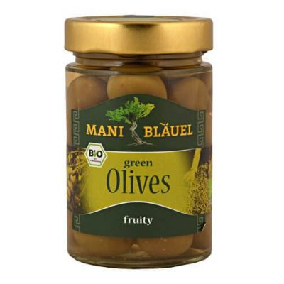 Mani-Blauel Organic Green olives in Brine